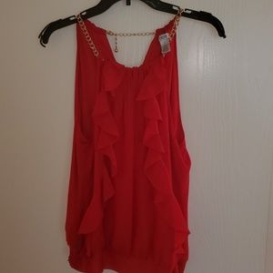 EUC-Cache red sleeveless top. Size Large